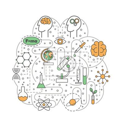 Nauka mózg kształtująca wektorowa płaska kreskowej sztuki ilustracja