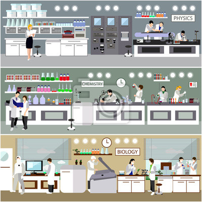 Naukowiec pracuje w laboranckiej wektorowej ilustraci. Wnętrze laboratorium nauki. Koncepcja edukacji biologii, fizyki i chemii.