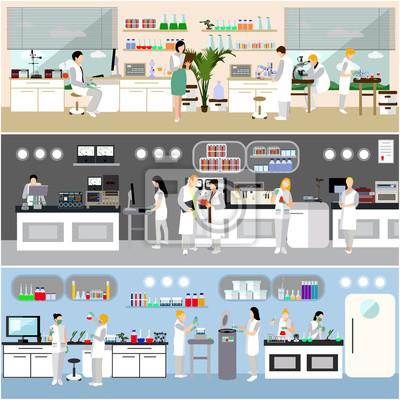 Naukowiec pracuje w laboranckiej wektorowej ilustraci. Wnętrze laboratorium nauki. Koncepcja edukacji biologii, fizyki i chemii