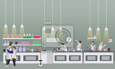 Naukowiec pracuje w laboranckiej wektorowej ilustraci. Wnętrze laboratorium nauki. Koncepcja edukacji chemii.