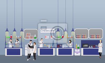 Naukowiec pracuje w laboranckiej wektorowej ilustraci. Wnętrze laboratorium nauki. Koncepcja edukacji chemii. Inżynierowie płci męskiej i żeńskiej dokonujący eksperymentów badawczych