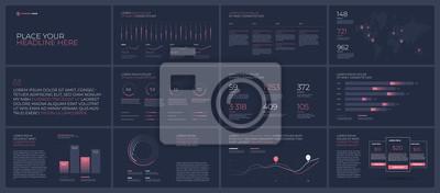 Neon light prezentacji szablonów elementów na ciemnym tle. Infografiki wektor. Użyj w prezentacji, ulotce i ulotce, raporcie korporacyjnym, marketingu, reklamie, raporcie rocznym, baneru.