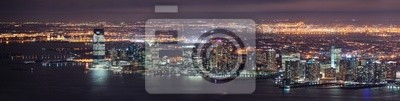 New Jersey Panorama nocy z Nowego Jorku Manhattan