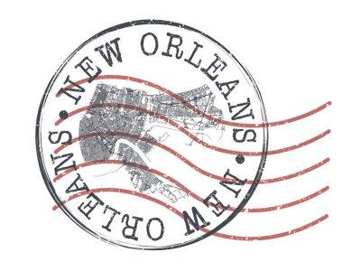 Obraz New Orleans, LA, USA Stamp Map Postal. Silhouette Seal Roads and Streets. Passport Round Design. Vector Icon. Design Retro Travel National Symbol.
