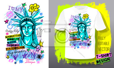 Obraz New York, city, american liberty, freedom, monument. Trendy t-shirt template, fashion t shirt design, bright summer, cool slogan lettering. Color pencil, marker ink, pen doodles sketch style