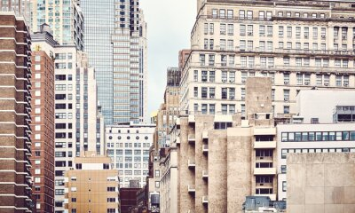 New York City architecture, color toning applied, USA.
