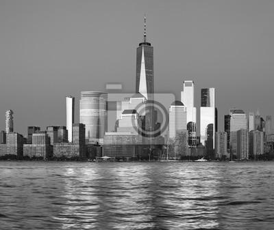 New York City black and white panorama at dusk, USA