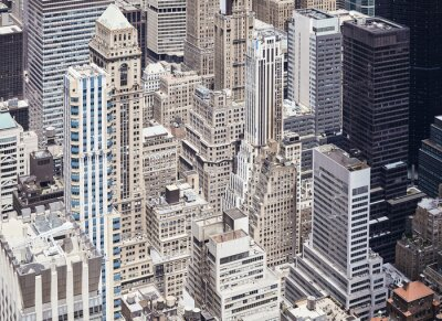 New York City diverse architecture, color toned aerial view, USA.
