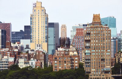 New York City diverse architecture, color toned picture, USA.