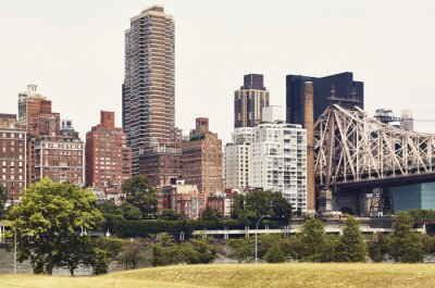 New York City East Side seen from Roosevelt Island, color toned picture, USA.