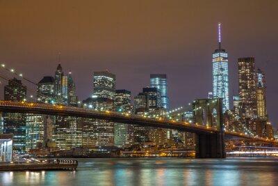 Obraz New York City Manhattan skyline Brooklyn Bridge noc