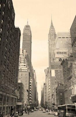Obraz New York City Manhattan widok ulicy w czerni i bieli