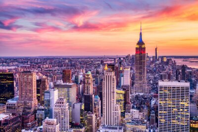 Obraz New York City Midtown with Empire State Building at Amazing Sunset