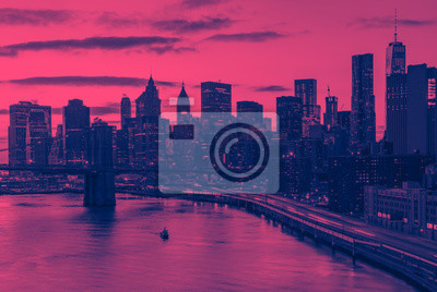New York City skyline buildings in pink and blue color overlay