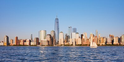 New York City skyline in a beautiful summer afternoon, USA.