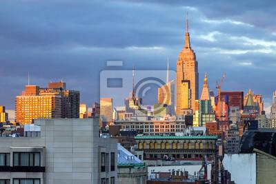New York City Skyline o zachodzie słońca