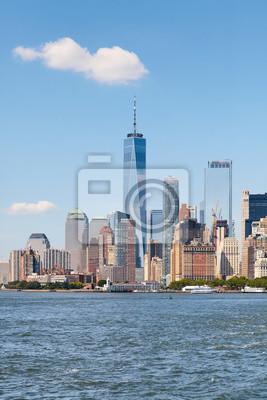 New York City skyline on a beautiful sunny day.
