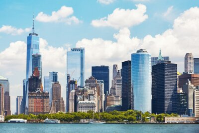 Obraz New York City skyline on a beautiful sunny day, color toning applied, USA.