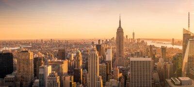 Obraz New York City skyline panorama o zachodzie słońca