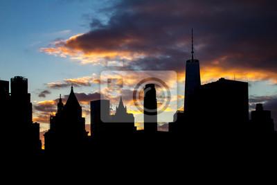 New York City Skyline Silhouette at Sunset