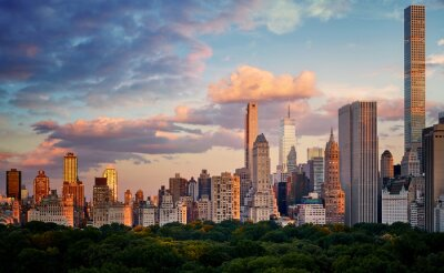 Obraz New York City Upper East Side skyline over the Central Park at sunset, USA.