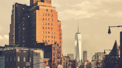 New York cityscape at sunset, retro color toning applied, USA.