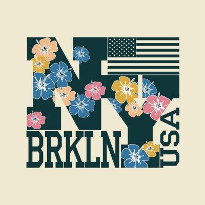 Obraz New York T-shirt, kwiatowy litery