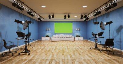 Obraz News studio blue room design Backdrop for TV shows.3D rendering