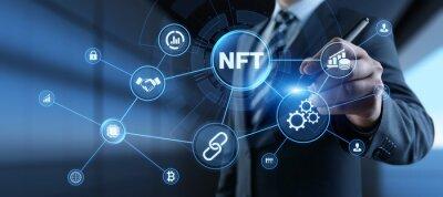 Obraz NFT Non-fungible token digital crypto art blockchain technology concept