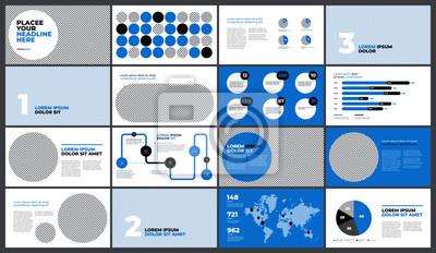 Niebieska prezentacja Szablon projektu. Wykresy danych biznesowych. Wektorowe wykresy finansowe i marketingowe.