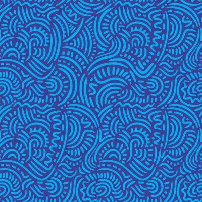 Obraz Niebieski Doodle Linie Seamless Pattern