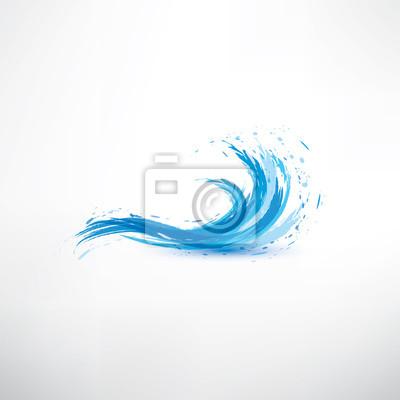 Obraz niebieski, fala, woda, vector, Symbol, abstrakcyjna
