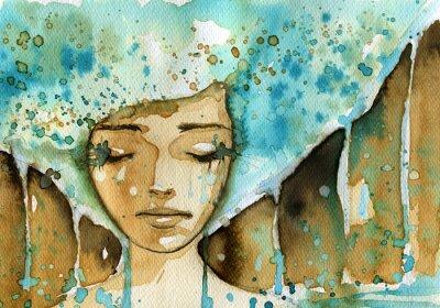 Obraz niebieski kobieta