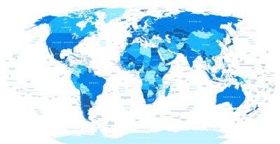Obraz Niebieski Mapa świata - granice, kraje i miasta ilustracji. Obraz zawiera kontury ziemi, nazwy krajów i gruntów, nazwy miast, nazwy obiektów wody.