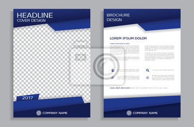 Obraz Niebieski projektu ulotka szablonu - broszury - raport roczny, przednia i tylna strona