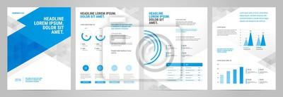 Niebieski szablon prezentacji. Wykresy danych biznesowych. Wektorowe wykresy finansowe i marketingowe.