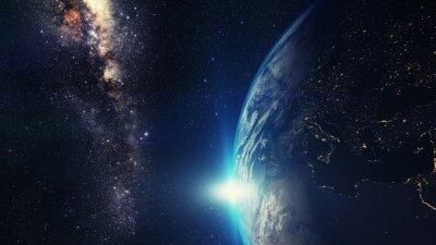 Obraz niebieski wschód słońca, widok Ziemi z przestrzeni kosmicznej z Drogi Mlecznej