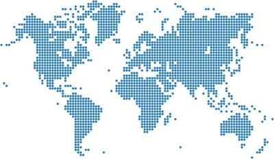 Obraz Niebieskie kropki mapa świata na białym tle, ilustracji wektorowych.
