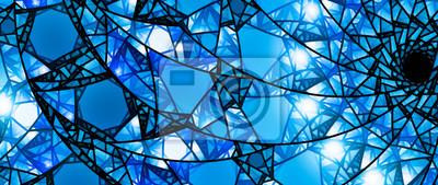 Obraz Niebieskie świecące witraże 8k panoramiczne tło