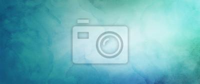 Obraz niebieskie zielone i białe tło akwarela z abstrakcyjnym pojęciem pochmurnego nieba z kolorowym wzorem splash i fringe krwawić plamy i plamy