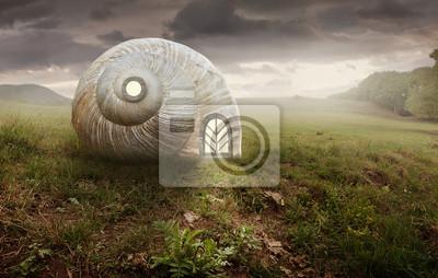 Obraz Nierealne artystyczny obraz z Ślimak i dom powłoki