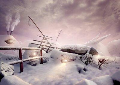 Obraz Nierealne artystyczny zimy obrazu z domów i światła