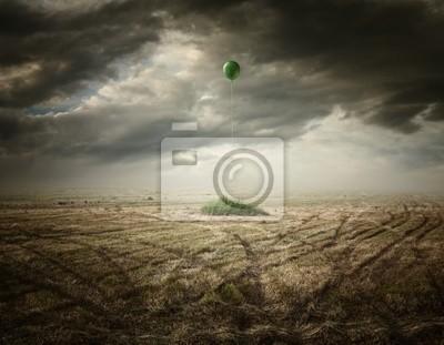 Obraz Nierealne artystycznych ilustracji z balonu na suchej trawy