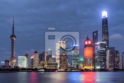 Niesamowity widok na panoramę Pudong (Lujiazui), Szanghaj, Chiny