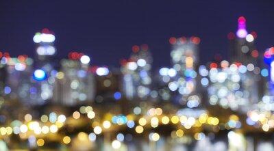 Niewyraźne światła Denver panoramę miasta w nocy, miejskich abstrakcyjne tło.