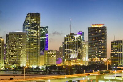 Night lights of Downtown MIami, Florida. Aerial view from departing cruise ship