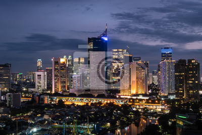 Night view of jakarta downtown district in Indonesia
