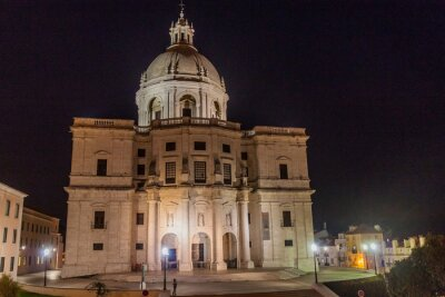 Night view of National Pantheon in Lisbon, Portugal