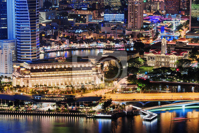Night view of old and modern buildings of Singapore