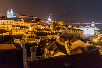 Night view of the skyline of Lisbon downtown, Portugal